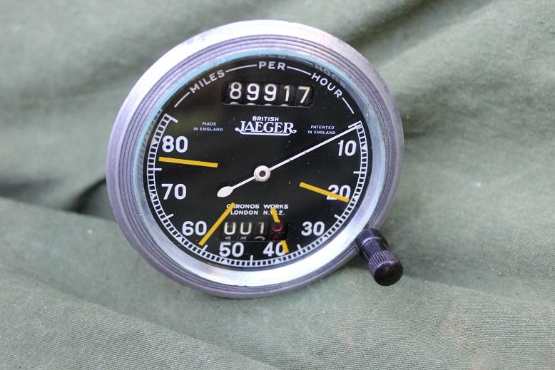 JAEGER 80 miles chronometric pin drive speedometer mijlen teller tacho 1930's