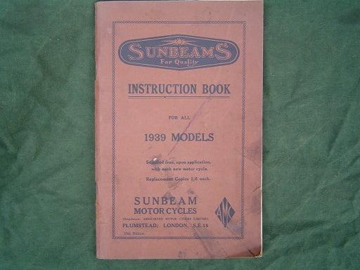 SUNBEAM 1939 models instruction book  B23 ,B24,B25,B29,B30 LION