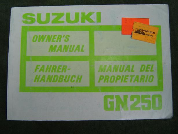 SUZUKI GN 250 owner's manual 1987