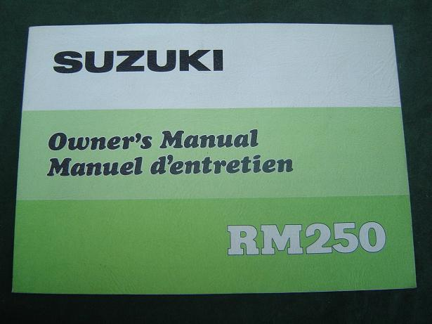 SUZUKI RM 250 1977 owner's manual