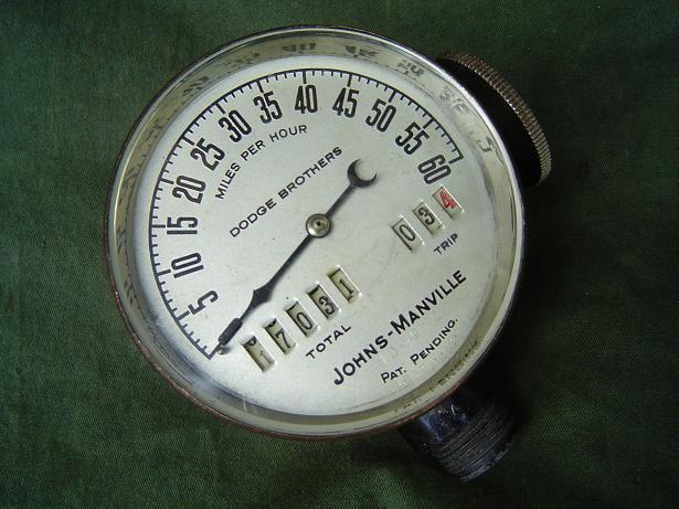 JOHNS MANVILLE USA  60 miles 1920's  speedometer teller tacho