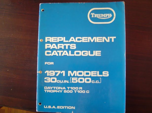 TRIUMPH 1971 500 cc T100R Daytona T100C  TROPHY parts catalogue