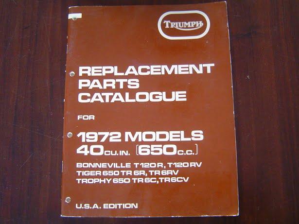 TRIUMPH 1972  650 cc T120R 6R TR6C parts catalogue Bonneville Tiger Trophy