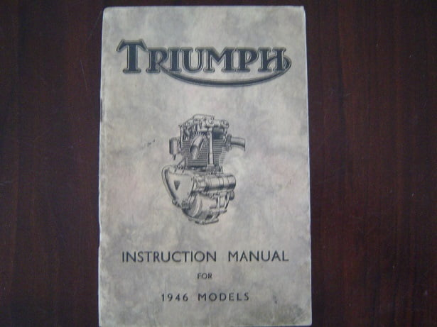 TRIUMPH 1946  instruction manual models 5T , T100, 3T ,T85