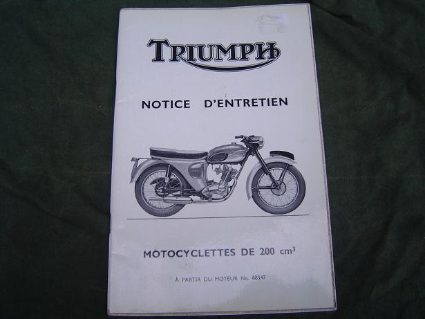 TRIUMPH Tiger cub , Sports cub 200 cc owners manual notice déntretien