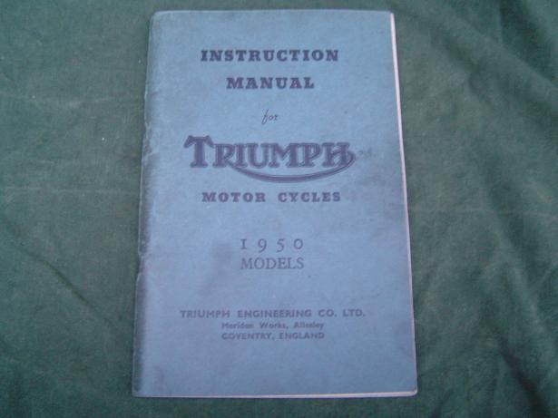 TRIUMPH 1950 models  instruction manual 3T  5T 6T T100 TR5