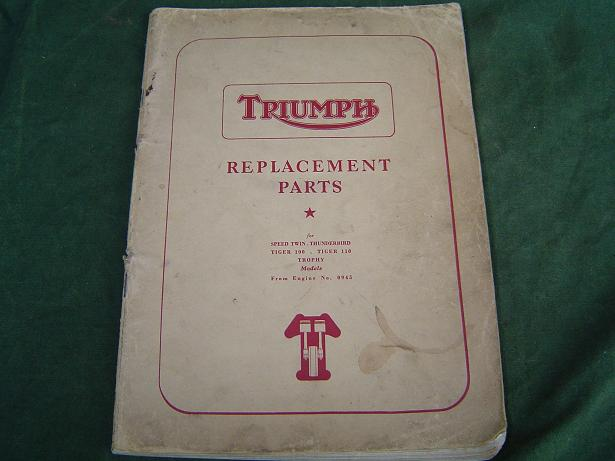 TRIUMPH replacement parts 1956 speed twin , trophy 5T,6T, T100
