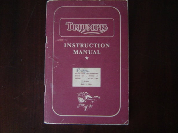TRIUMPH 1945 -1955 models instruction manual 3T , T100 ,T110 speed twin