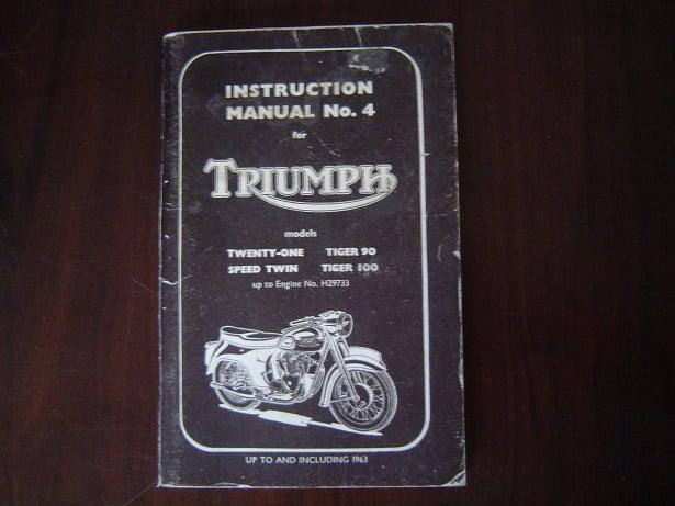 Triumph 3ta 5ta T100a T90 T100ss Instruction Manual Including 1963 Models