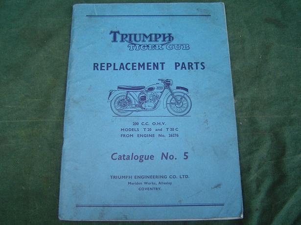 TRIUMPH Tiger Cub 200 cc ohv T20 parts list