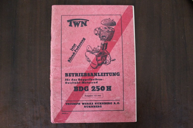 Triumph TWN BDG 250 H 1951 betriebsanleitung doppelkolben zweitakt motorrad