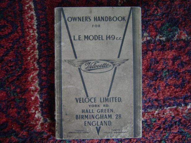 VELOCETTE LE model 149 cc 1949 owner's handbook