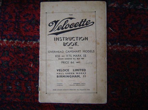 VELOCETTE instruction book KSS en KTS mark II 1936 ?