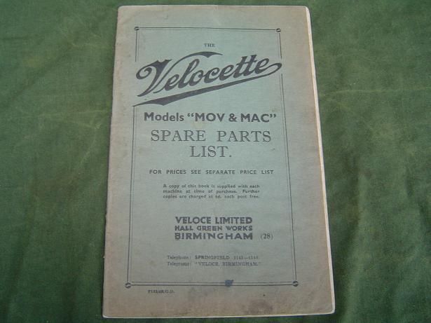 VELOCETTE  MOV en MAC spare parts list 1938 ??