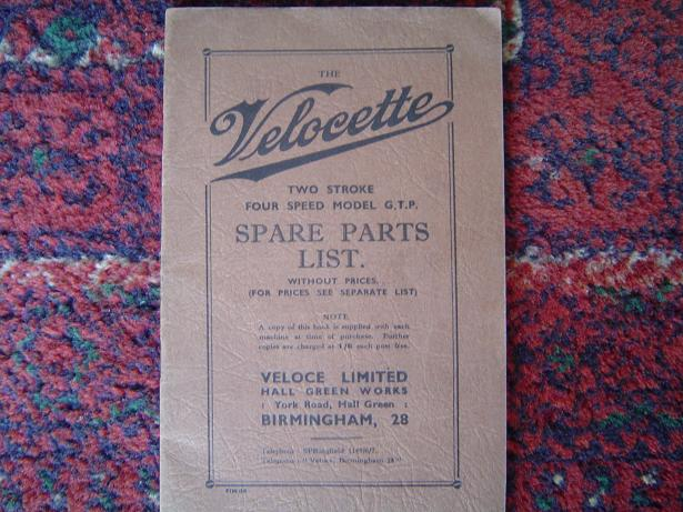 VELOCETTE GTP two stroke four speed spares list G.T.P.