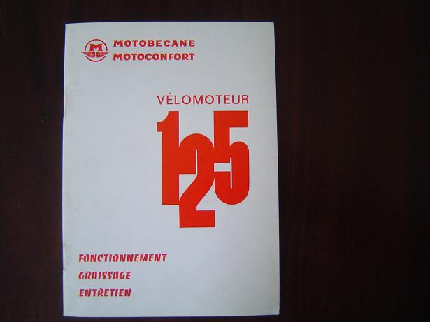 MOTOBECANE 125 cc twin instructie boekje entretien  velomoteur