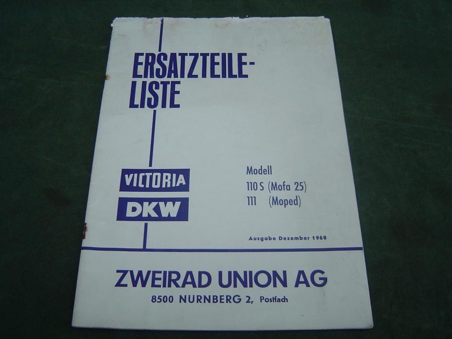 DKW / VICTORIA  modell 110 S en 111 1968 moped ersatzteil liste