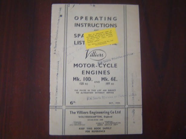 VILLIERS motorcycle engines MK 10D Mk 6E 1950 operating
