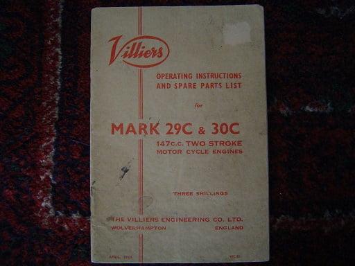 VILLIERS  MARK 29C en 30C 147 cc   1963 two stroke motorcycles spare parts list