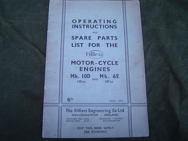 VILLIERS MK 10D  MK 6E  1949 operating and spares list