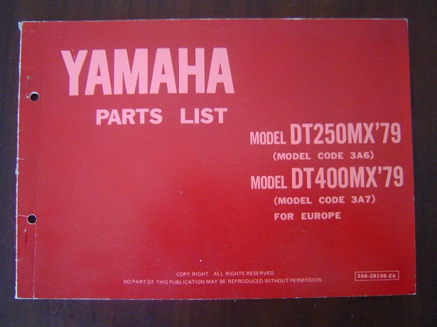 YAMAHA DT250 MX DT400 MX 1979 parts list 3A6 3A7