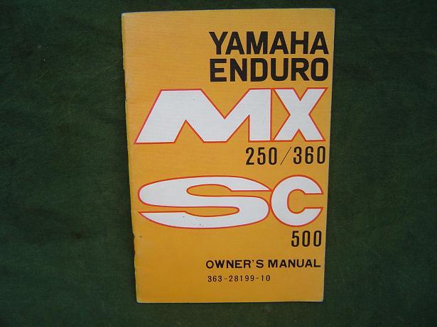 YAMAHA enduro  MX 250 / 360  SC 500 1973 owner's manual