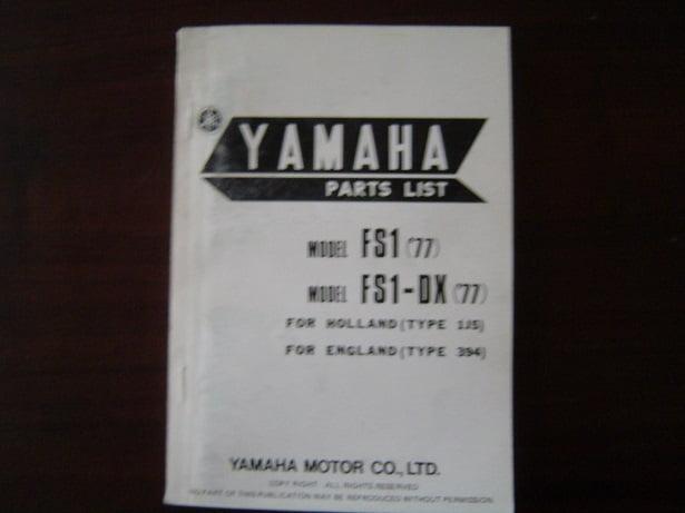 YAMAHA FS1 FS1-DX 1977 parts list FS 1 onderdelen boekje