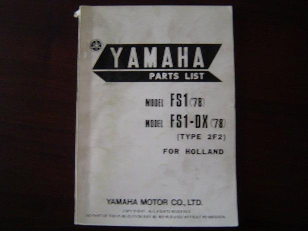 YAMAHA FS1 FS-DX 1978 parts list FS 1 onderdelen boekje