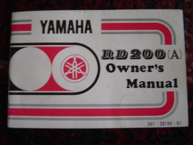 YAMAHA RD 200 A owner's manual RD200A
