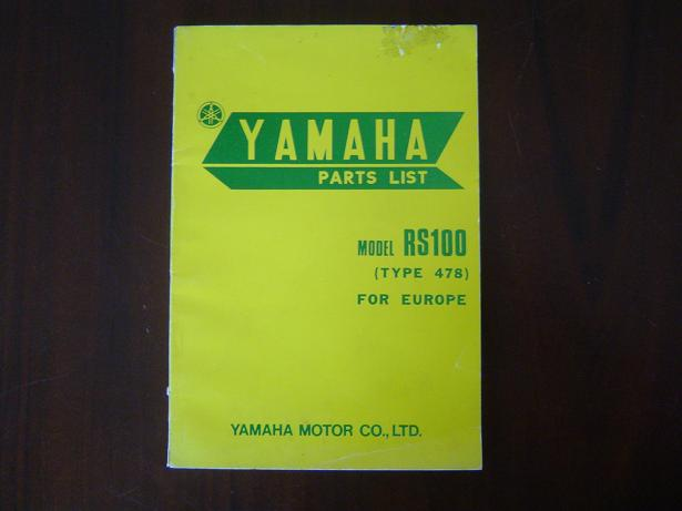 YAMAHA RS100  1974   parts list   RS 100   type 478
