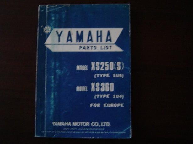 YAMAHA XS250 XS360 1977 parts list XS 250 360 onderdelen boekje