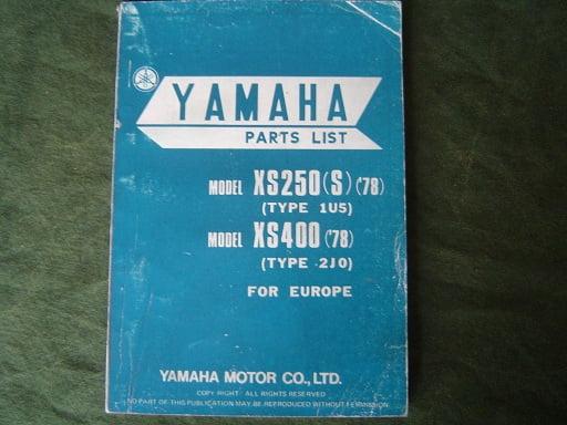 YAMAHA XS 250 1978 type 1U5  en XS 400 1978 type 2J0 parts list