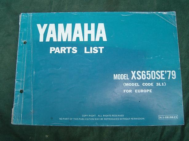 YAMAHA XS 650  SE 1979 parts list