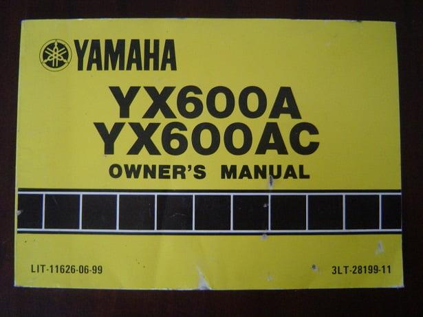 YAMAHA YX600A YX600AC  1989 owner 's manual YX 600 RADIAN