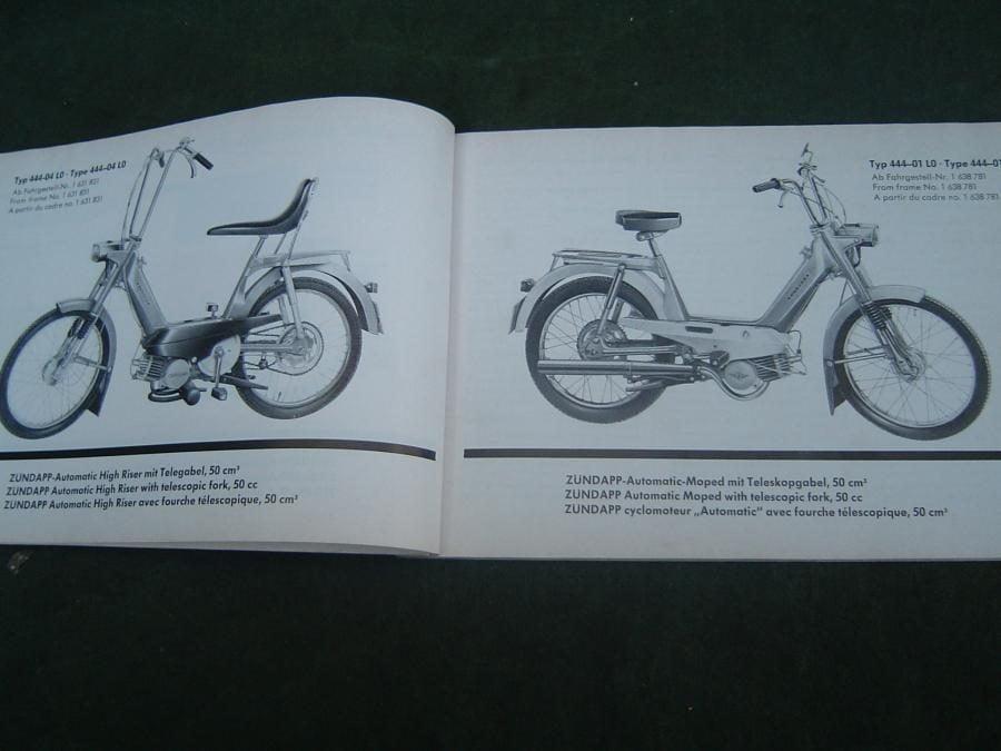 ZÜNDAPP automatic typen 444 1973 ersatzteil katalog