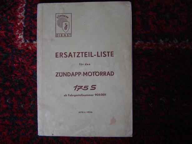 ZÜNDAPP 175S motorrad 1956 ersatzteil liste   parts list