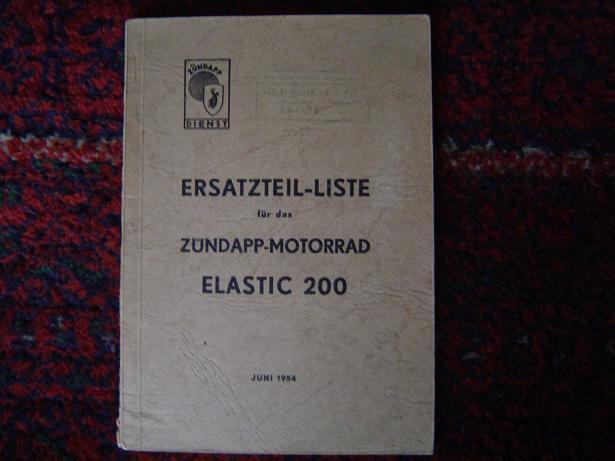 ZÜNDAPP  ELASTIC 200 1954 motorrad ersatzteil liste     parts list
