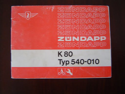 ZÜNDAPP K80 typ 540-010  K 80  bedienungs anleitung