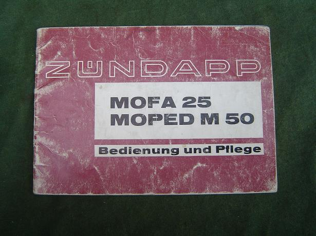 ZÜNDAPP mofa 25 en moped M 50 bedienung und pflege