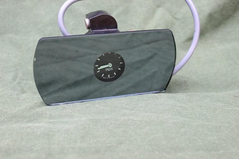 SMITHS X58955/23 binnen spiegel met klokje jaren 50 rearvieuw mirror with clock