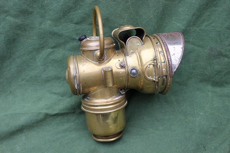 RIEMANN carbidlamp motorfiets acetylene lamp motorcycle motorrad karbid lampe  HELD reserved 1910