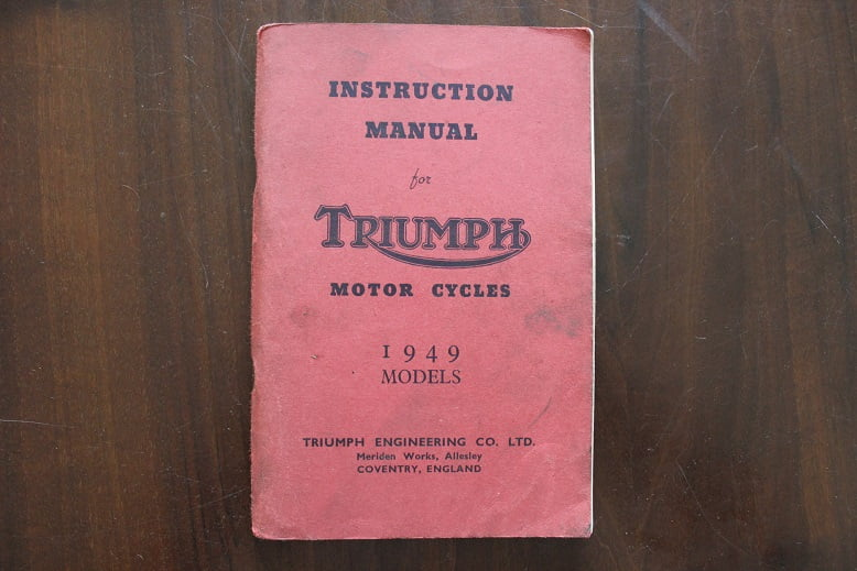 TRIUMPH motorcycles 1949 models 3T 5T T100  instruction manual