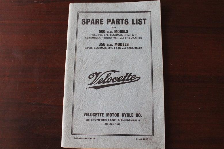VELOCETTE 350 cc & 500 cc models spare parts list Viper Scrambler MSS Venom Thruxton etc.