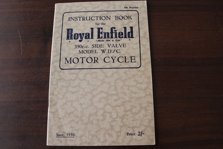 ROYAL ENFIELD 350 cc SV model W.D. / C instruction book