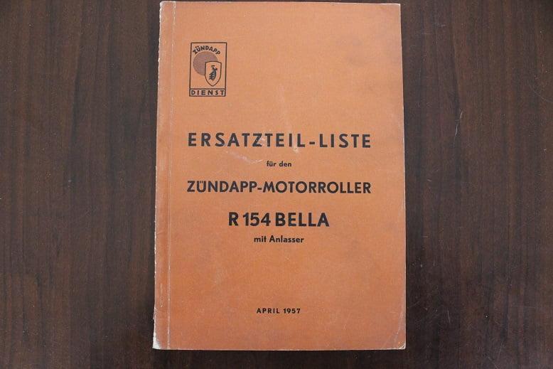 ZÜNDAPP BELLA R154 mit anlasser 1957 ersatzteil liste onderdelen boek parts list