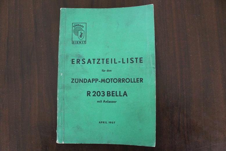 ZÜNDAPP BELLA R 203 mit anlasser 1957 ersatzteil liste onderdelen boek parts list