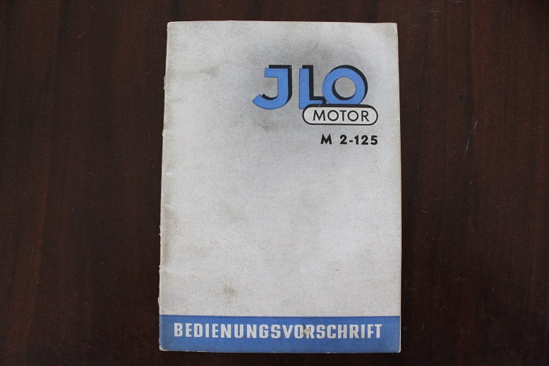 JLO M 2-125 bedienungs vorschrift 244 cc 4 gang twin handboekje 1954 ??