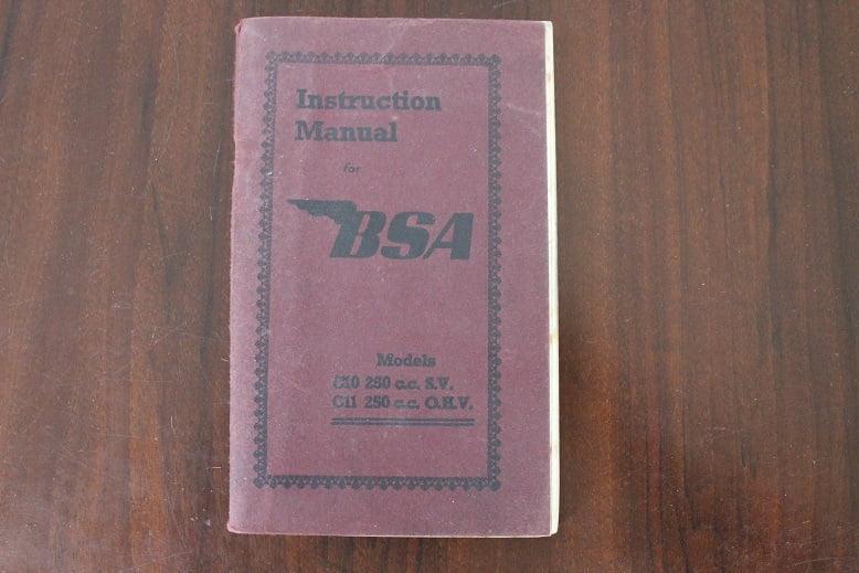 BSA C10 250 cc OHV C11 250 cc SV 1952 instruction manual  fahrer handbuch