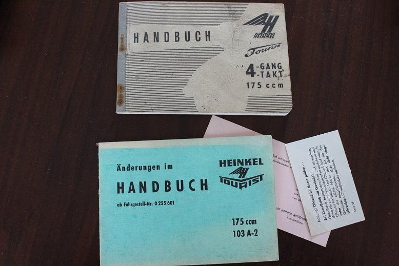 HEINKEL TOURIST 175 cc 4 gang handbuch 103 A-2