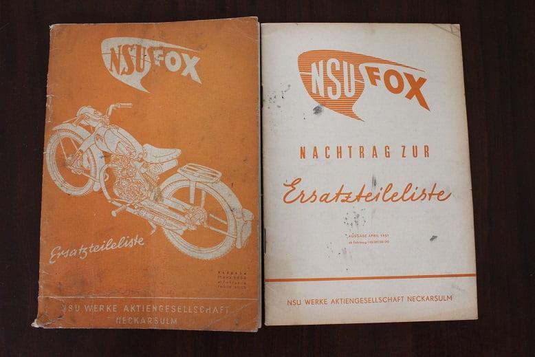 NSU FOX 1950 ersatzteile liste onderdelen boek